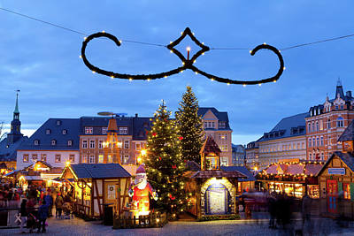 Christmas Market Photograph - Town Lit Up At Night On Christmas by Panoramic Images