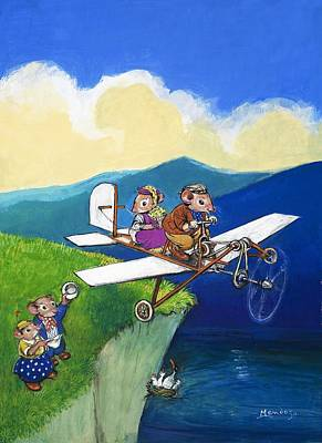 Painting - Town Mouse And Country Mouse Flying A Plane by Philip Mendoza