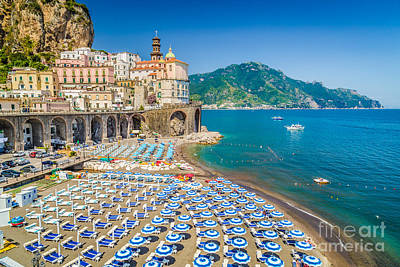 Umbrella Photograph - Town Of Atrani by JR Photography