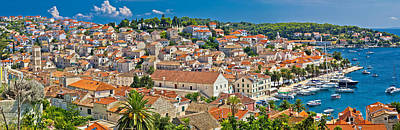 Photograph - Town Of Hvar Aerial Panorama by Brch Photography