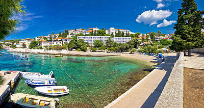 Movie Tees - Town of Hvar turquoise waterfront view by Brch Photography