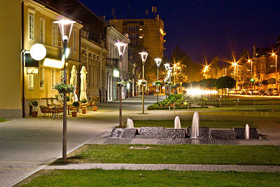 Photograph - Town Of Krizevci Walkway Night Scene by Brch Photography