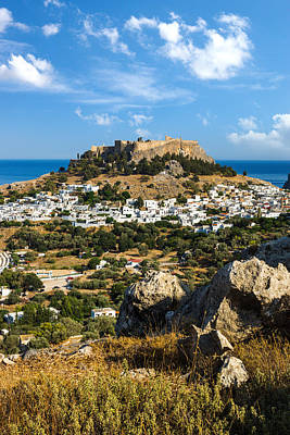 Photograph - Town Of Lindos And Acropolis On The Island Of Rhodes by Gurgen Bakhshetsyan