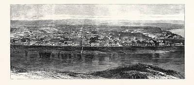 New Zealand Drawing - Town Of Wanganui New Zealand 1869 by New Zealand School