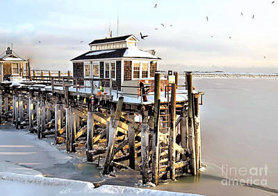 Photograph - Town Pier Frozen by Janice Drew