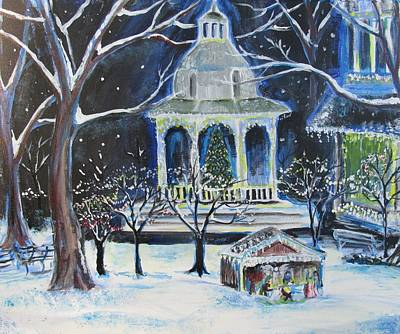 Town Square At Christmas Original by Beth Waltman