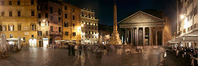 Town Square With Buildings Lit Art Print by Panoramic Images