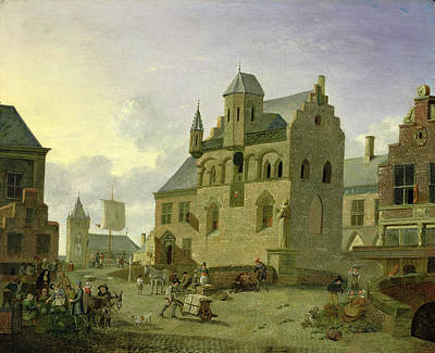 Halls Harbour Photograph - Town Square With Figures And Peasants Trading In A Market Place Panel by Johannes Huibert Prins