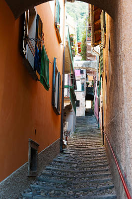 Lake Como Photograph - Town Steep Street, Varenna, Como by Panoramic Images