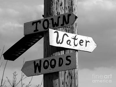 Photograph - Town Water Woods Bw by Christine Stack