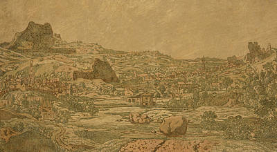 Rocky Drawing - Town With Four Towers by Hercules Segers
