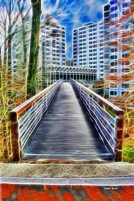 Yellow Bridge Digital Art - Towson University Walkway by Stephen Younts
