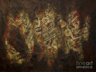 Currency Mixed Media - Toxic Greed by Kamil Swiatek