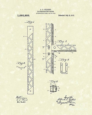 Construction Drawing - Toy Blocks 1913 Patent Art by Prior Art Design
