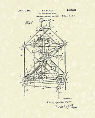 Construction Drawing - Toy Blocks 1933 Patent Art by Prior Art Design