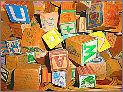 Alphabet Learning Digital Art - Toy Blocks by Mindy Newman