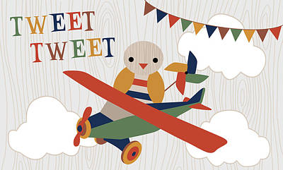Plane Painting - Toy Box Airplane by Tamara Robinson