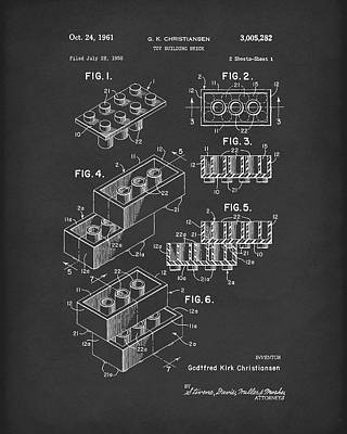 Drawing - Toy Building Brick 1961 Patent Art Black by Prior Art Design