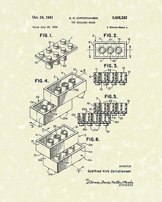 Drawing - Toy Building Brick 1961 Patent Art by Prior Art Design
