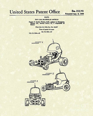 Drawing - Toy Car 1969 Patent Art by Prior Art Design