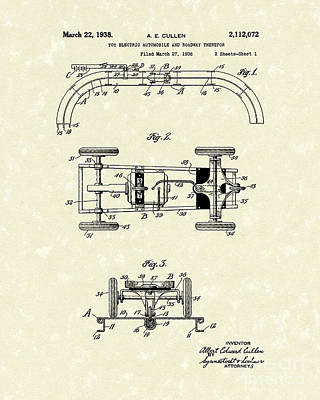 Drawing - Toy Car And Track 1938 Patent Art by Prior Art Design