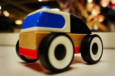 In A Row Painting - Toy Car by Celestial Images