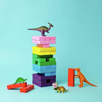 Photograph - Toy Dinosaurs And Blocks by Juj Winn