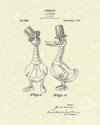 Drawing - Toy Duck 1915 Patent Art by Prior Art Design