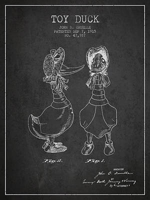 Birds Digital Art - Toy Duck patent from 1915 - female - Charcoal by Aged Pixel