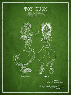 Birds Digital Art - Toy Duck patent from 1915 - female - Green by Aged Pixel