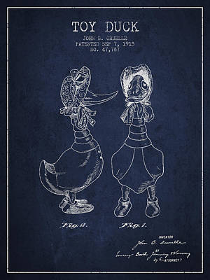 Birds Digital Art - Toy Duck patent from 1915 - female - Navy Blue by Aged Pixel