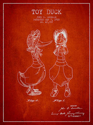 Toy Duck Patent From 1915 - Female - Red Art Print