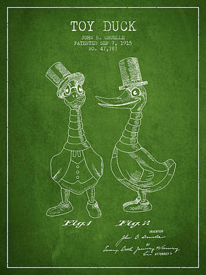 Toy Duck Patent From 1915 - Male - Green Art Print