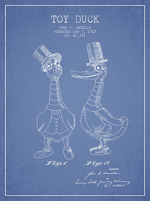 Toy Duck Patent From 1915 - Male - Light Blue Art Print