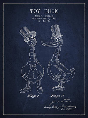 Toy Duck Patent From 1915 - Male - Navy Blue Art Print