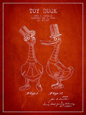 Birds Digital Art - Toy Duck patent from 1915 - male - Red by Aged Pixel