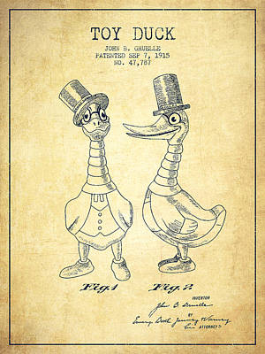 Toy Duck Patent From 1915 - Male - Vintage Art Print