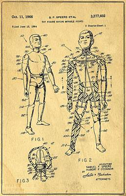 Speer Photograph - Toy Figure Having Movable Joints Support Patent Drawing From 1966 1 by Samir Hanusa