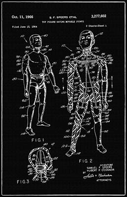 Speer Photograph - Toy Figure Having Movable Joints Support Patent Drawing From 1966 2 by Samir Hanusa