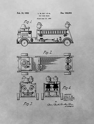 Drawing - Toy Fire Engine Patent Drawing by Dan Sproul