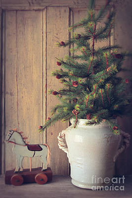 Photograph - Toy Horse With Christmas Tree On Table by Sandra Cunningham