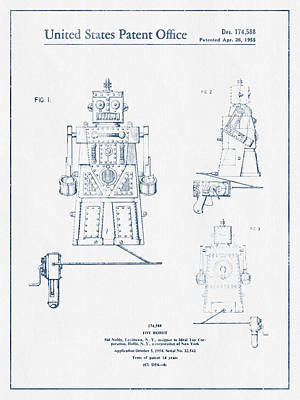Android Digital Art - Toy Robot Patent Drawing From 1955 - Blue Ink by Aged Pixel