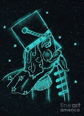 Drawing - Toy Soldier Nutcracker In Black And Aqua by Sonya Chalmers