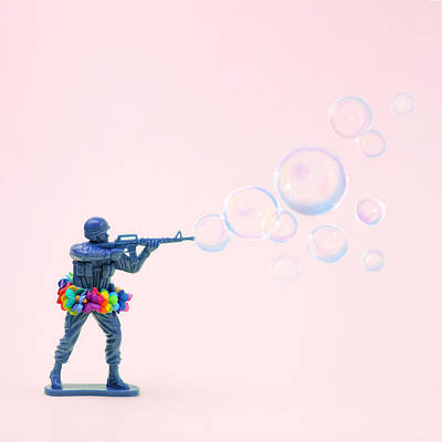 Photograph - Toy Soldier Shooting Bubbles From Gun by Juj Winn