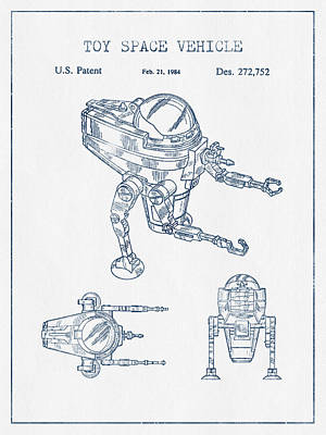 Android Digital Art - Toy Space Vehicle Patent  - Blue Ink by Aged Pixel