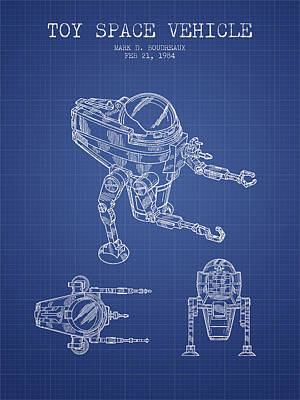 Android Digital Art - Toy Space Vehicle Patent From 1984 - Blueprint by Aged Pixel