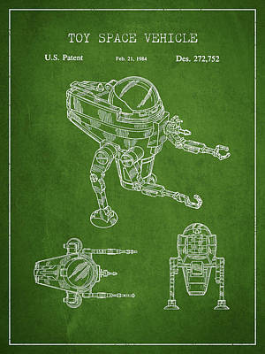 Android Digital Art - Toy Space Vehicle Patent - Green by Aged Pixel