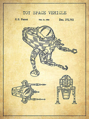 Android Digital Art - Toy Space Vehicle Patent - Vintage by Aged Pixel