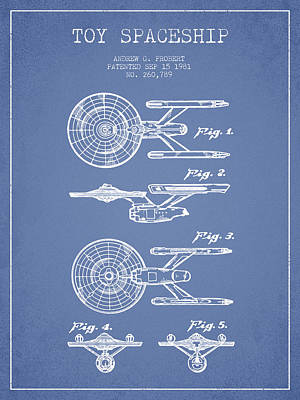 Space Ships Digital Art - Toy Spaceship Patent From 1981 - Light Blue by Aged Pixel
