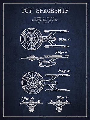 Space Ships Digital Art - Toy Spaceship Patent From 1981 - Navy Blue by Aged Pixel
